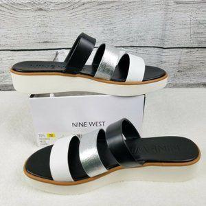 NEW Nine West Zoili Leather Platform Slide Sandal
